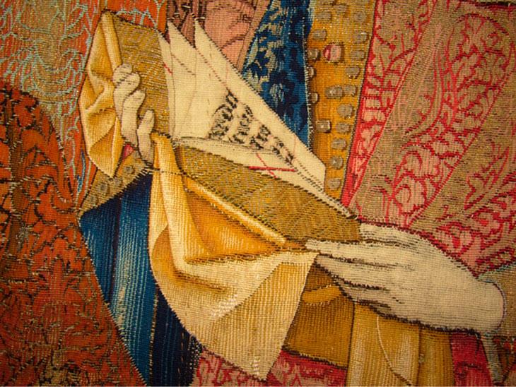 Detalle de tapiz La Coronación de la Virgen