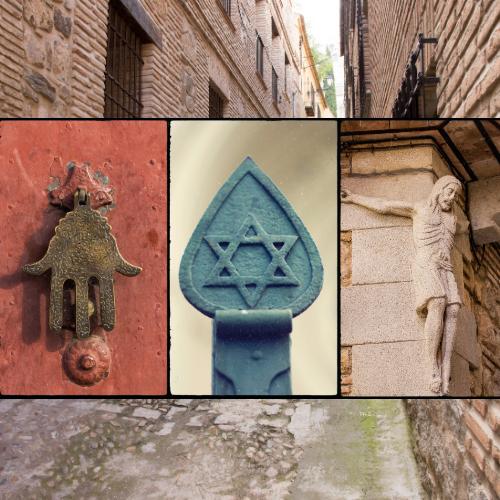 calle de Toledo con símbolos 3 culturas