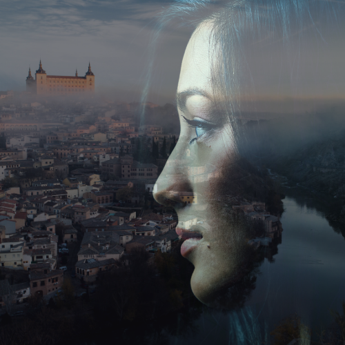 Rostro de mujer y skyline Toledo