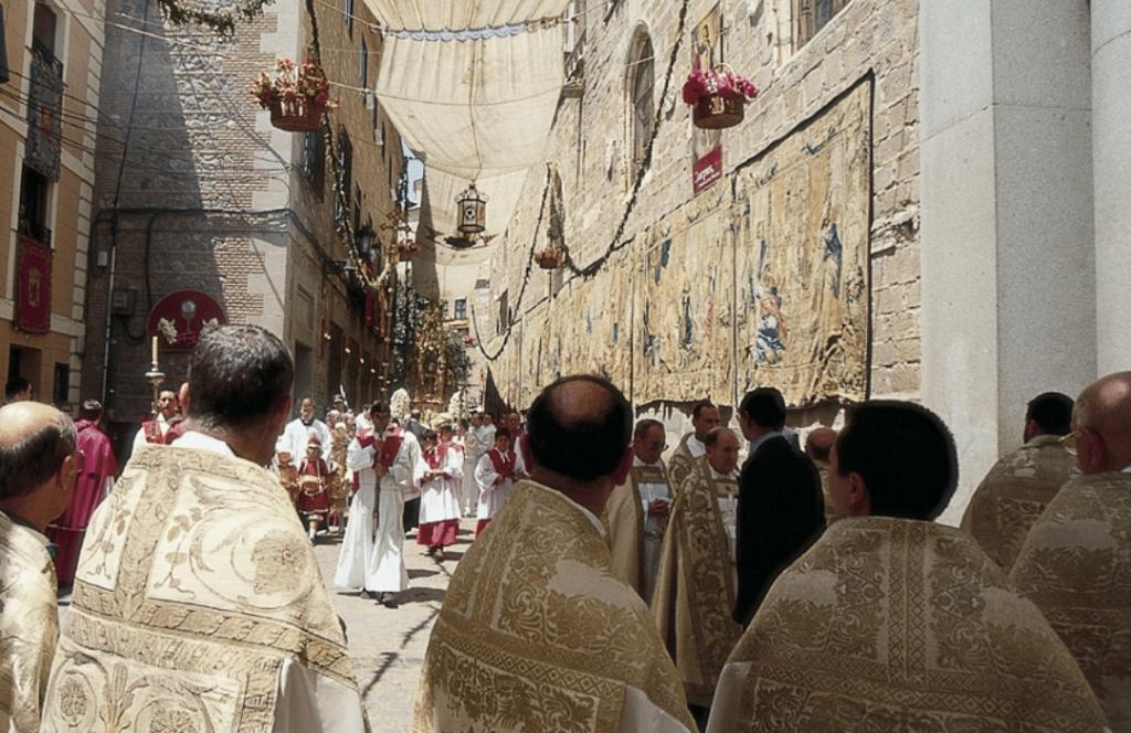 Procesión Corpus Christi Toledo, foto de archivo
